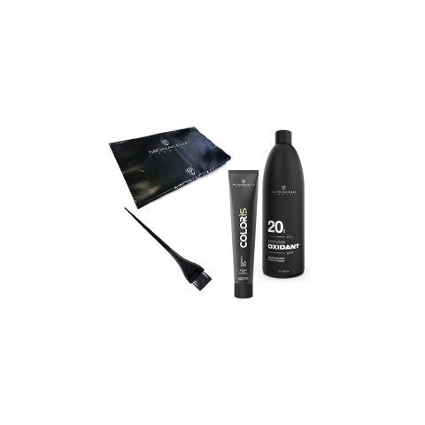 Monacelli Tintura Coprente Kit (Tubo 100 ml, Ossigeno 150 ml,Ciotola, Pennello) -