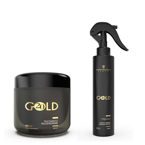Monacelli Gold 20 Trattamento Ricostruzione Kit 2pz -