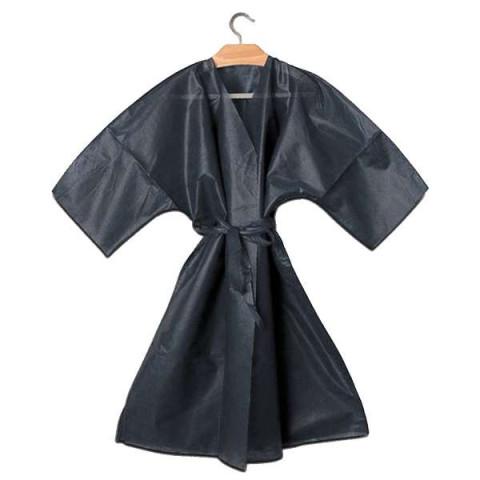 Kimono Nero Monouso Bordato con Cinta - 10pz -